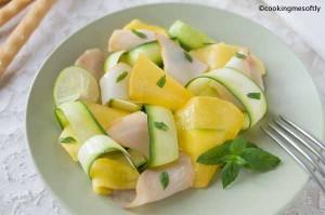 Pesce spada affumicato con carpaccio di mango e zucchine