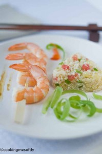 Bittersweet Quinoa with tails prawns Kebabs